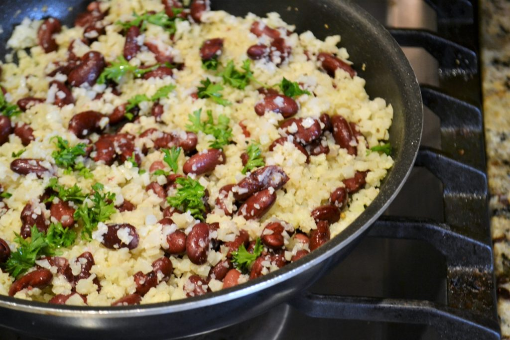 pan of Cuban Cauliflower Rice and Beans