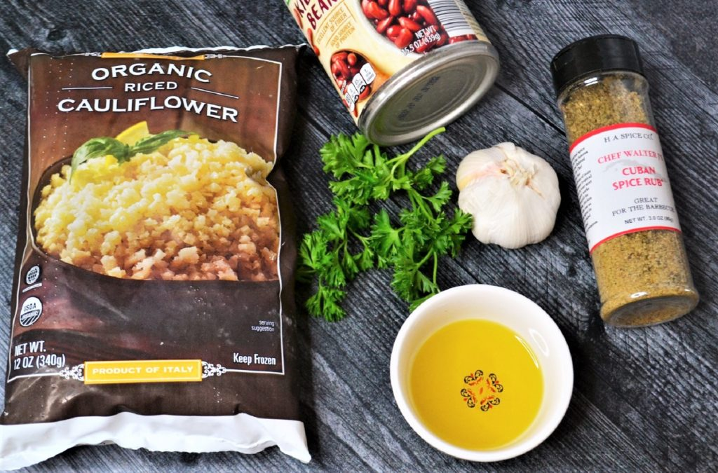 ingredients to make cauliflower rice & beans